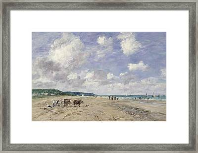 The Beach At Tourgeville Framed Print by Eugene Louis Boudin