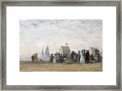 The Beach At Trouville Framed Print by Eugene Louis Boudin