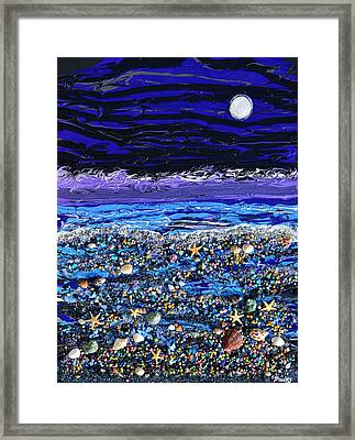 The Beach By Moonlight Framed Print by Donna Blackhall