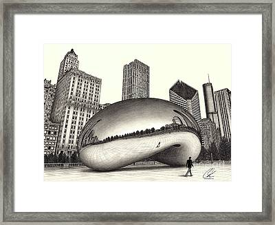 The Beach Chicago Drawing Framed Print