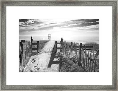 the beach in black and white framed print by dapixara art