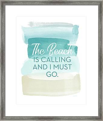 The Beach Is Calling- Art By Linda Woods Framed Print