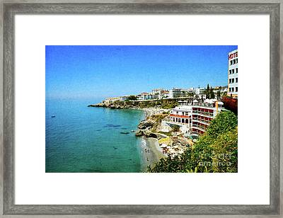 Framed Print featuring the photograph The Beach - Nerja Spain by Mary Machare
