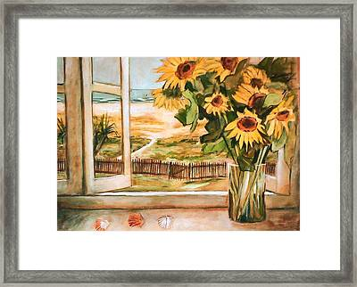 The Beach Sunflowers Framed Print