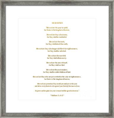 The Beatitudes Gospel Of Matthew Framed Print by Rose Santuci-Sofranko