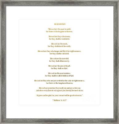 The Beatitudes Gospel Of Matthew Framed Print