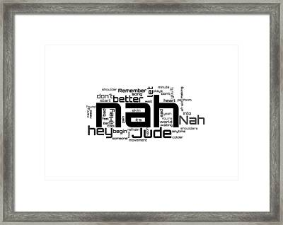 The Beatles - Hey Jude Lyrical Cloud Framed Print by Susan Maxwell Schmidt
