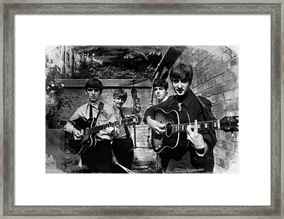 The Beatles In London 1963 Black And White Painting Framed Print
