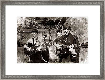 The Beatles In London 1963 Sepia Painting Framed Print by Tony Rubino
