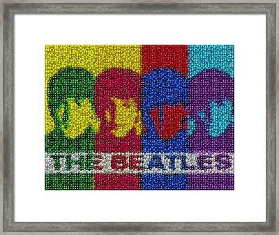 The Beatles Mm Candy Mosaic Framed Print by Paul Van Scott