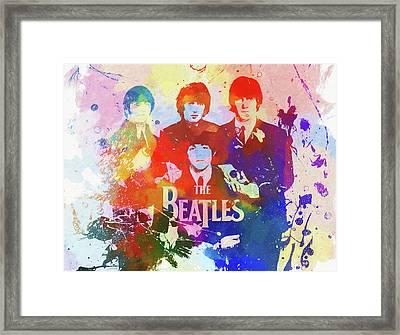 The Beatles Paint Splatter  Framed Print by Dan Sproul
