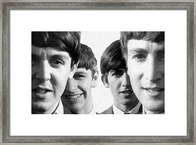 The Beatles Painting 1963 Black And White Framed Print