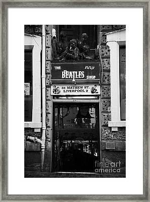 The Beatles Shop In Mathew Street In Liverpool City Centre Birthplace Of The Beatles Merseyside  Framed Print by Joe Fox