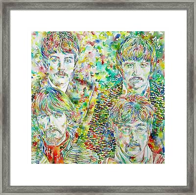 The Beatles - Watercolor Portrait.1 Framed Print by Fabrizio Cassetta