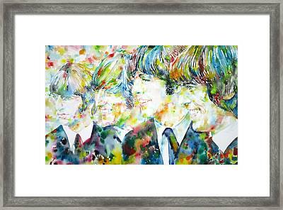 The Beatles - Watercolor Portrait.2 Framed Print by Fabrizio Cassetta