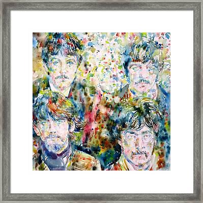 The Beatles - Watercolor Portrait.5 Framed Print by Fabrizio Cassetta