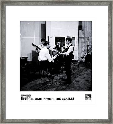 The Beatles With George Martin At Abbey Road. Framed Print