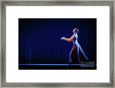 Framed Print featuring the photograph The Beautiful Ballerina Dancing In Blue Long Dress by Dimitar Hristov