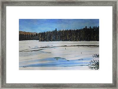 The Beaver Pond In Winter Framed Print