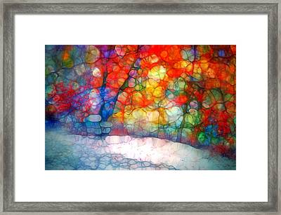 The Bench At First Snow Framed Print