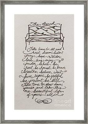 The Bench Framed Print by Elizabeth Robinette Tyndall