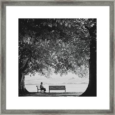 The Bench Man Framed Print by Debi Bishop