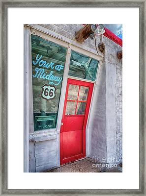 The Bent Door On Historic Route 66 Framed Print by Priscilla Burgers