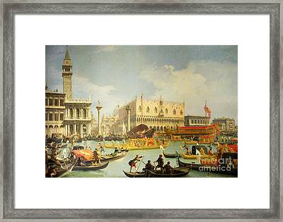 The Betrothal Of The Venetian Doge To The Adriatic Sea Framed Print by Canaletto