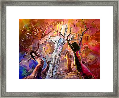 The Bible Crucifixion Framed Print by Miki De Goodaboom