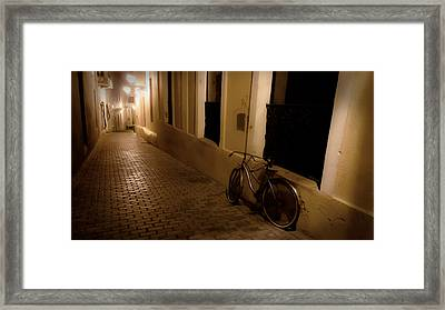 The Bicycle And The Brick Road Framed Print