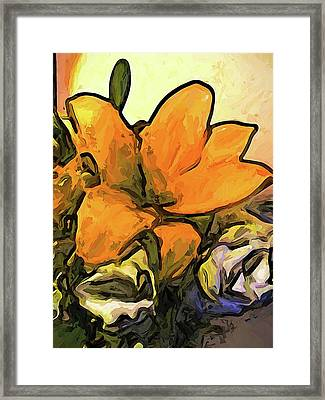 The Big Gold Flower And The White Roses Framed Print
