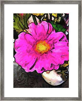 The Big Pink And Yellow Flower In The Little Vase Framed Print