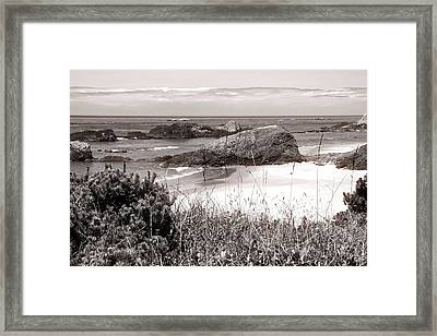 The Big Rock And The Pacific Framed Print