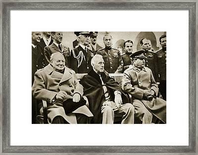 The Big Three At Yalta Framed Print by English School