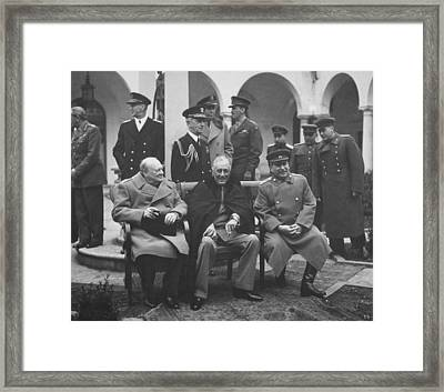 The Big Three -- Ww2 Leaders Framed Print by War Is Hell Store
