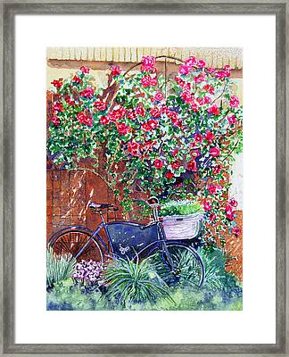 The Bike At Bistro Jeanty Napa Valley Framed Print by Gail Chandler