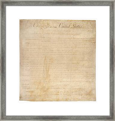 The Bill Of Rights. The First Ten Framed Print by Everett