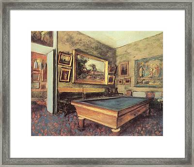 The Billiard Room At Menil-hubert Framed Print by Edgar Degas