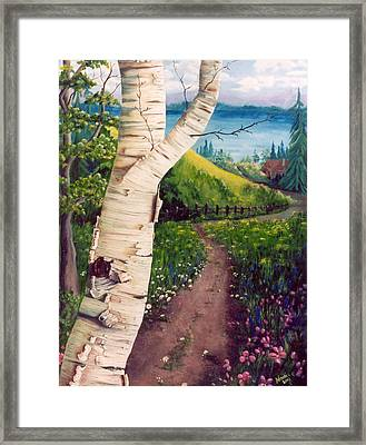 Framed Print featuring the painting The Birch by Renate Nadi Wesley