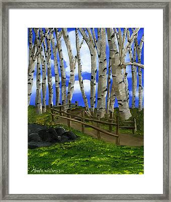 The Birch Tree Road Framed Print by Maria Williams