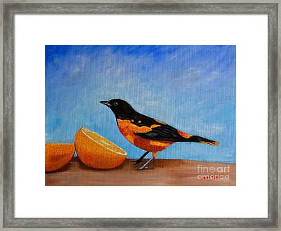 Framed Print featuring the painting The Bird And Orange by Laura Forde