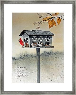 The Birdfeeder Framed Print by Monte Toon