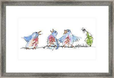 The Birds And The Bee Bird Art Watercolor Painting By Kmcelwaine Framed Print