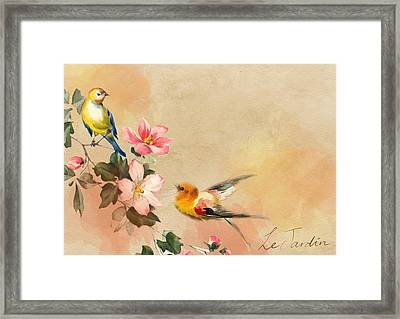 Framed Print featuring the pyrography The Birds by Artistic Panda