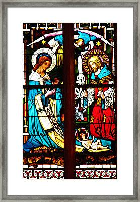 The Birth Of Christ In Stained Glass Framed Print by Sarah Loft
