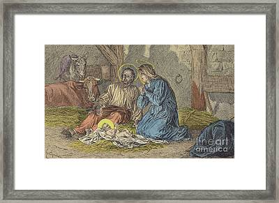 The Birth Of Jesus Christ  Framed Print by French School