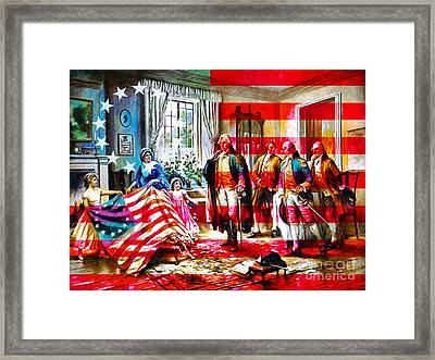 The Birth Of Old Glory With Flag 20150710 Framed Print by Wingsdomain Art and Photography