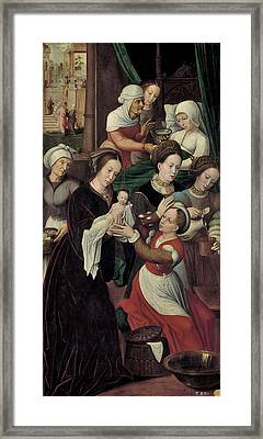 The Birth Of The Virgin Framed Print by Ambrosius Benson