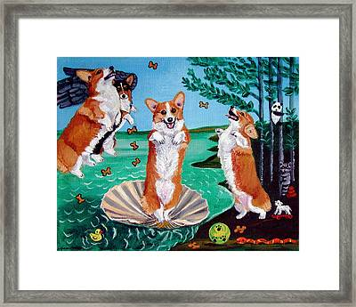 The Birth Of Venus -  Pembroke Welsh Corgi Framed Print by Lyn Cook
