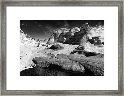 Framed Print featuring the photograph The Bisti Badlands - New Mexico - Black And White by Jason Politte